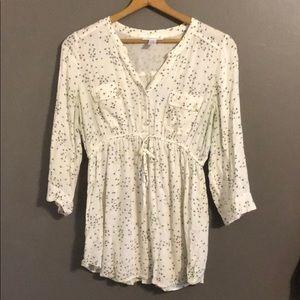 Motherhood maternity top blouse shirt flowers L